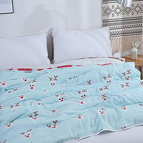 YULE Couverture de sieste en gaze de coton - Couverture simple et double - Couverture d'été douce et fraîche - Pour filles et enfants - Joli couvre-lit...