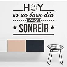 WYTTT Vinilos Decorative Hoy ES Un Buen Dia para Sonreir Español Frase Citas Pared Vinilo Pegatina Inspiración Letras Murales 57X43Cm Wall Sticker