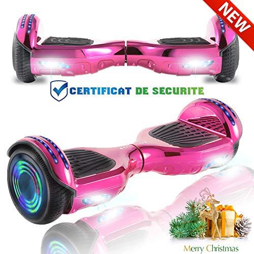 CHIC 6.5 Inch Balance Board Self Balancing Elektrische Scooter Skateboard Wielen met LED-lichtmotor 700W Bluetooth voor Kinderen en Volwassenen (Chrome Roze)
