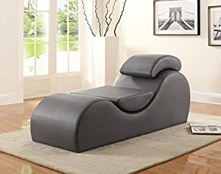 US Pride Furniture CL-15 Faux Leather Deluxe Stretch Chaise and Yoga Chair with Removable Pillows, Gray (B01M00YU2G) | Amazon price tracker / tracking, Amazon price history charts, Amazon price watches, Amazon price drop alerts