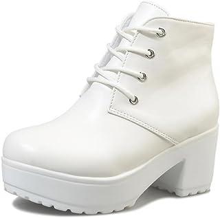 [ビューメンス] 厚底ショートブーツ 太ヒール 22cm~27.5cm レースアップ 大きいサイズ ブラック/ホワイト