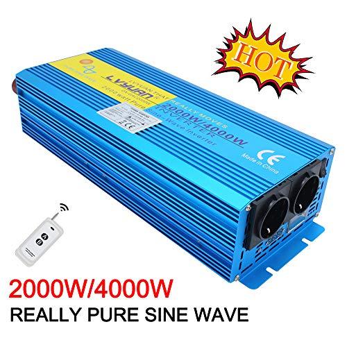 Cantonape Pure Sine Wave Power Inverter 2000W DC 12V naar AC 240V converter met draadloze afstandsbediening & dubbele EU-stopcontacten voor RV Truck Car