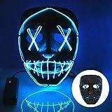 T98 Halloween Maske, LED Maske mit 3 Blitzmodi Horror Gesichtsmaske für Kinder Mann Frau,Weihnachten, Karneval, Party, Kostüm Cosplay, Dekoration