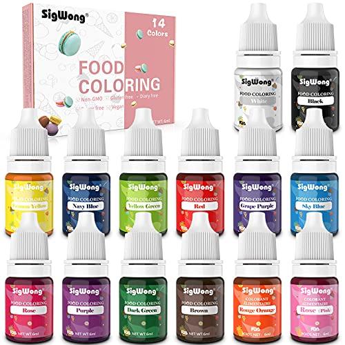 Colorante alimentario 14*6ml, Colorante Alimentario Alta Concentración Liquid Set para Colorear los Bebidas Pasteles Galletas Macaron Fondant