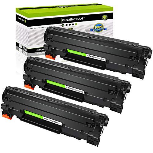 GREENCYCLE 3 PK Toner Cartridges Compatible CB435A 35A Black Laser Print for Laserjet P1005 1006