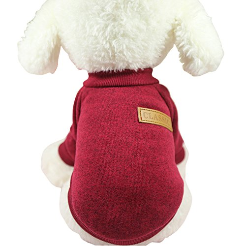 CHBORLESS Pet Dog Classic Knitwear Sweater Warm Winter Puppy Pet Coat Soft Sweater Clothing for Small Dogs (M, Wine red)