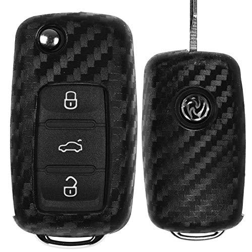 Carbon Soft Case Schutz Hülle Auto Klapp Schlüssel für Skoda Citigo Fabia Rapid Roomster Yeti Superb