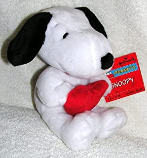 "Hallmark 8"" Plush Snoopy Bean Bag Doll Holding Red Heart"