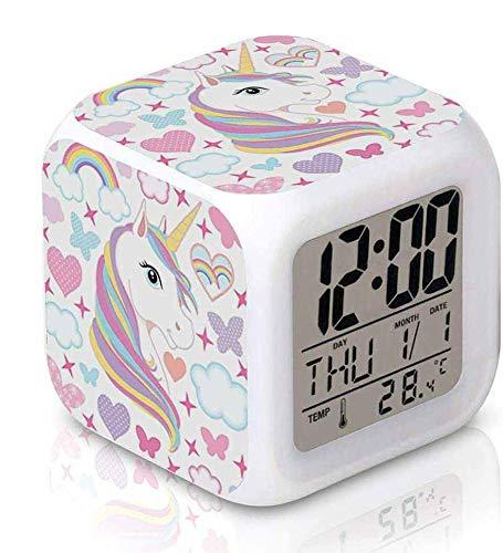 Digitaler Wecker, LED-Nachtlicht, nachtleuchtender Würfel, Wecker für Kinder, leuchtend, Farbwechsel, elektrischer Kalender, Weckfunktion, Nachttischuhr, modern für Erwachsene und Schlafzimmer