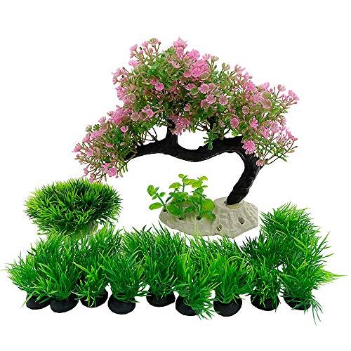 Plantas de acuario Decoraciones de pecera 7.75 pulgadas de alto medio/grande de plástico artificial planta peces peces paisaje acuático escondite bonsai/pino árbol conjunto (rosa)