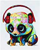 Diy painting DIY Oil Painting Paint by Number Kit Panda wearing headphones for Kids Adults Students Beginner Creative Home Handmade Canvas Decoration Painting Art Gift 40X50CM Oil painting set by num