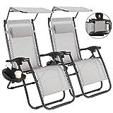 Superworth 2er Set zusammenklappbare Stühle mit Dach, Zero Gravity Sonnenliegemit Getränkehalter...