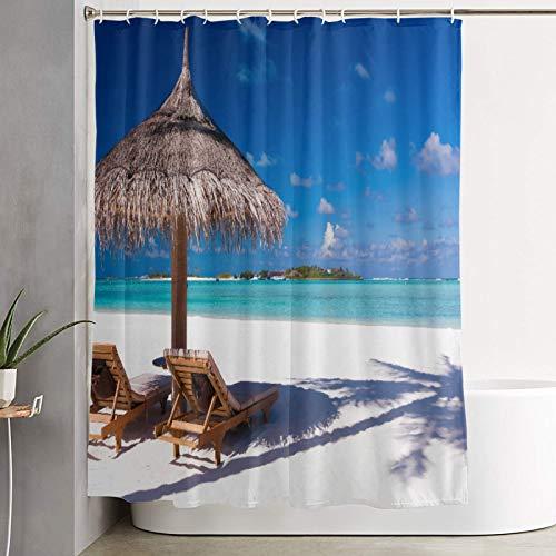 KGSPK Duschvorhang,Insel Karibik Flitterwochen unter dem Motto Strand Seashore Ocean,wasserdichter Badvorhang mit 12 Haken Duschvorhangringen 180x180cm