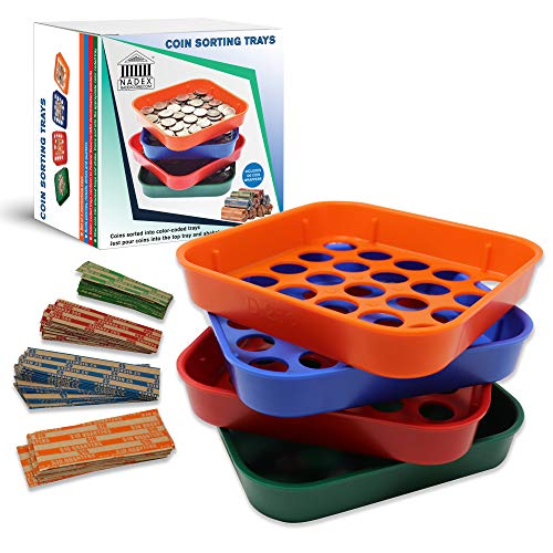 Nadex Quick Sort Coin Organizing Trays   Color Coded Sorting Trays for Pennies, Nickels, Dimes, and Quarters - 40 Coin Wrappers Included