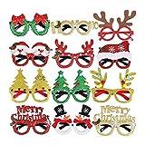 Gafas de Navidad Brillo Glasses Fiesta Marco 12 Piezas de decoración de Navidad Disfraces de Fiesta de Navidad Gafas de Fiesta de Fiesta de Vacaciones Papel Fotografía (un tamaño Se Adapta a Todos)