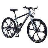 Fitfulvan 26 Inch Folding Mountain Bike, Full Suspension Road Bikes 6 Spoke 21 Speed Gears Dual Disc Brakes Mountain Bicycle for Men/Women, Gray