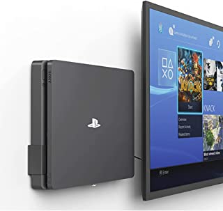 Monzlteck New Wall Mount for PS4 Slim, Near or Behind TV, Space Saving,Customized to Perfectly Fit PlayStation4 Slim,Easy ...