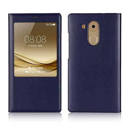 Sangrl Funda para Huawei Mate 8, Ultradelgado Cuero de la PU Flip Cover Smartphone Touch View Window Case Cover para Huawei Mate 8 - Azul Oscuro