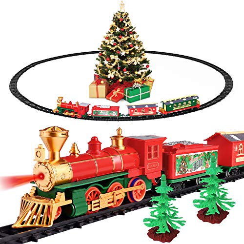 Christmas Train Set with Light & Sound - Electric Battery Operated Train Toy Set for Christmas Tree - Kids Toy Train Set with 4 Train Cars & 16 Tracks - Gifts for 3 4 5 6 Year Old Boys Girls Toddlers