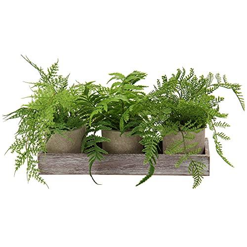 Kunstpflanze 3 Stücke Künstliche Pflanze im Topf, Boston Farn Pflanzen Indoor und Outdoor Grünes Gras, Deko Wohnzimmer Balkon Schlafzimmer Badezimmer Zimmer Tischdeko