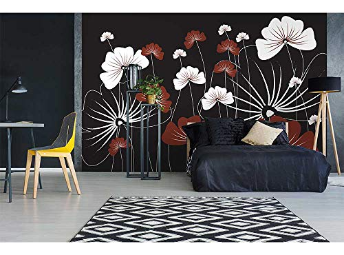 Vlies Fotobehang BLOEMEN OP ZWART | Niet-Geweven Foto Mural | Wall Mural - Behang - Reusachtige Wandposter | Premium Kwaliteit - Gemaakt in de EU | 375 cm x 250 cm