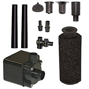Beckett Corporation 680 GPH Submersible Pond Pump Kit with Prefilter and Nozzles - Water Pump for Indoor/Outdoor Ponds, Fountains, Fish Tanks, Aquariums, and Waterfalls - 7.8' Max Fountain Height, Black
