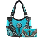 Justin West Autumn Fringe Cut Concho Rhinestone Concealed Carry Handbag Purse Matching Wallet (Turquoise Purse and Wallet Set)