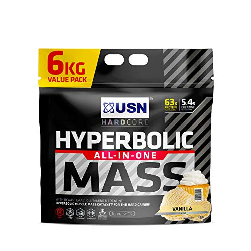 USN Hyperbolic Mass Vanilla 6 kg: All-In-One Mass Gainer Protein Powder, For Fast and Effective Weight Gain