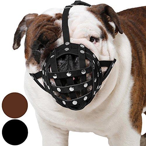 CollarDirect Basket Dog Muzzle for Boxer, English Bulldog, American Bulldog Secure Leather Muzzle (Black)