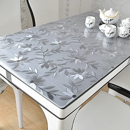 Manteles Transparente Plástico Protector de Cubierta de Mesa Transparente, Mantel de PVC de Vidrio Blando Grueso, Cojín de Mesa Antideslizante Transparente para Escritorio de Computadora / Mesa de Caf