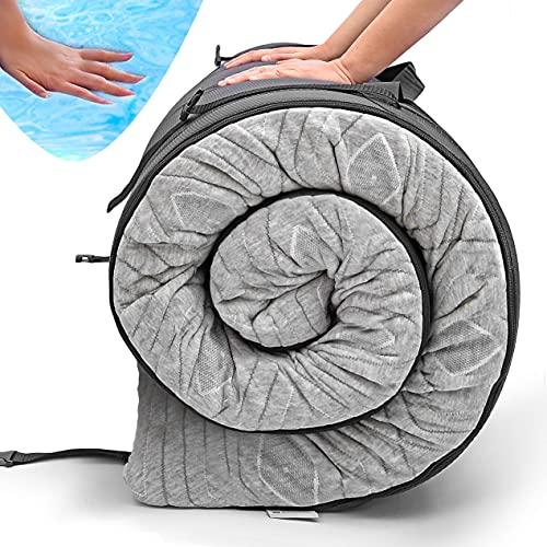 "Zermätte Roll Up Travel Mattress | Portable Foldable 3"" Gel Foam Sleeping Pad, Camping Floor Mat & Bed Topper w/ Waterproof Cover, Carry Bag, Eye Mask & Ear Plugs | Kids, Cot, Single or Twin…"