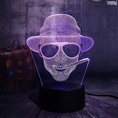 Lámpara de luz nocturna 3D, fumador con gafas USB Luz de noche LED 3D, lámpara de mesa remota, decoración de barra de Halloween, regalo para niños