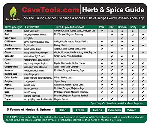 Spice Rack & Herb Organizer Set Magnet - Kitchen Cooking Guide Conversion Chart with Grilling Rubs & BBQ Seasoning Substitutions - Measuring Spoon Barbecue Accessories Gift Idea by Cave Tools