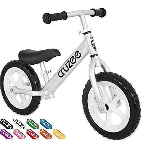 Cruzee Ultralite Balance Bike (4.4 lbs) for Ages 1.5 to 5 Years | Silver - Best Sport Push Bicycle for 2, 3, 4 Year Old Boys & Girls– Toddlers & Kids Skip Tricycles on The Lightest First Bike