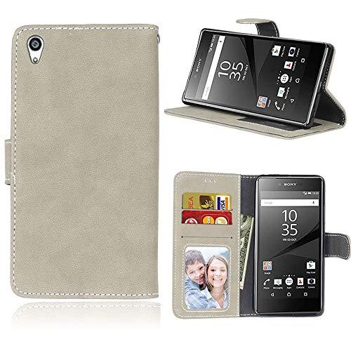 Sangrl Lederhülle Schutzhülle Für Sony Xperia Z5 Premium/Dual / Z5 Plus, PU-Leder Klassisches Design Wallet Handyhülle, Mit Halterungsfunktion Kartenfächer Flip Hülle Grau