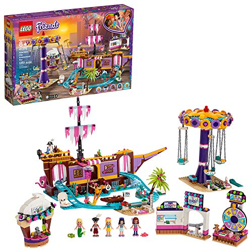 LEGO Friends Heartlake City Amusement Pier 41375 Toy Rollercoaster Building Kit with Mini Dolls and Toy Dolphin, Build and Play Set Includes Toy Carousel, Ticket Kiosk and More (1,251 Pieces)