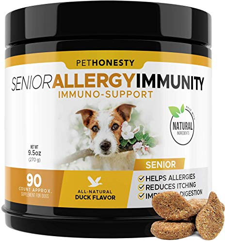 PetHonesty Senior Allergy Support Supplement for Dogs - Omega 3 Salmon Fish Oil, Colostrum, Digestive Prebiotics & Probiotics - for Seasonal Allergies + Anti Itch, Skin Hot Spots Soft Chews (Duck)