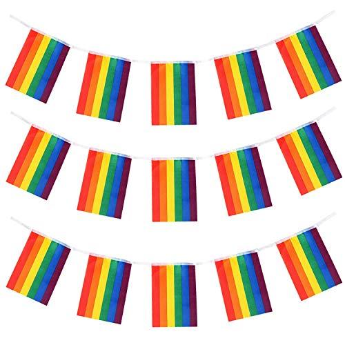 TRIXES Regenbogenfahnengirlande - 10 Meter Länge - mit 38 rechteckigen Flaggen zur Unterstützung - Innen- & Außen-Gartenfahnen - wasserdichte Schnurgirlanden-Dekoration für das Feste Feiern Paraden