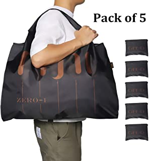 GEE·D Extra Large Reusable Grocery Bags Foldable Tote Bags Heavy Duty Hold 50LBS, 5 Pack Reusable Shopping Bags Large Nylon Bag Tote Bags for Travel with 2 Inner Pocket attached Keep in Purse and Car