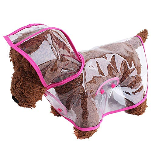 NACOCO Regenmantel für Hunde, transparent, mit Hut, Sommer-Poncho, wasserdicht, Eva-Kostüm, verhindert nasse Regenkappe für kleine und mittelgroße Hunde, M, Rose