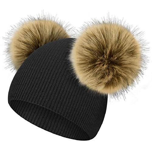 heekpek Gorro Lindo Bebé Invierno Niña Sombrero de Invierno Niños Piel Pom Pom Sombreros Lindo Gorro de Punto Sombrero de Bebe Gorro Cálido para Niña