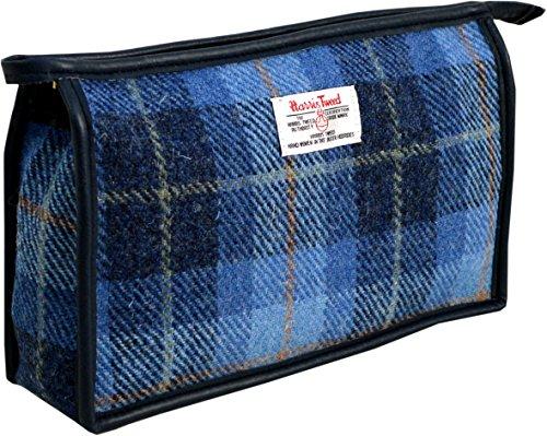 Vagabond Bags Harris Tweed Blue Check Holdall Bag Trousse de toilette, 24 cm, Bleu (Mid Blue)