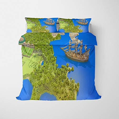 NICHIYO Minecraft Military Duvet Cover Bedding Set - Duvet Cover and Pillow Case, Microfibre, 3D Digital Print Three-Piece Bed Linen (Duvet Cover + Pillowcases) (15.AU Double180 x 210 cm)