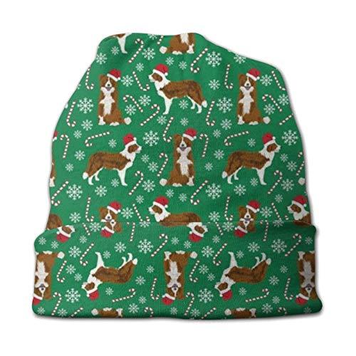 Border Collie Dog Christmas Border Collies Rojo y Blanco Gorro de Invierno Verde Gorro de Punto cálido para niños