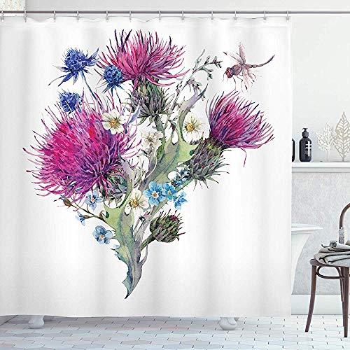 D-M-L Libelle Duschvorhang, Natürliche Wiese Kräuter Bouquet Wilde Disteln Kamille Aquarell Kunst, Tuch Badezimmer Set Mit Haken, Fuchsia 122X183CM