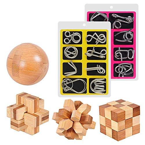 20 Pcs Brain Teaser Puzzle Unlock Interlock IQ Test Game Wooden and Metal Wire Puzzle for Kids and Adults