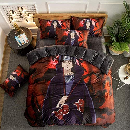 622 Pair of 3D Duvet Cover Bedding Set Anime One Piece Naruto Crystal Velvet Four Piece Flat Sheet Duvet Cover Pillowcase Uchiha Itachi_1.2M (4 Feet) Sheet Style, A01, Super King 220x260cm