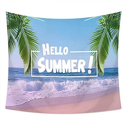 KHKJ Tropical Summer Beach Tapices de Tela de Pared Palmera Impreso Tapiz Colgante de Pared Paisaje Toalla de Playa Decoración para el hogar A1 150x130cm