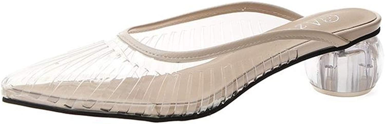 Super explosion Women's Comfy Transparent Slip on Closed Pointy Toe Flat Mules Slide Sandals