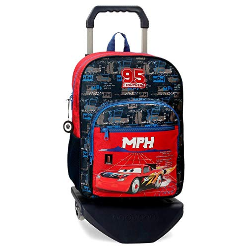 Disney Cars Rocket Racing Zaino Scuola 40 cm con carrello, Multicolore, 27x38x11 cm